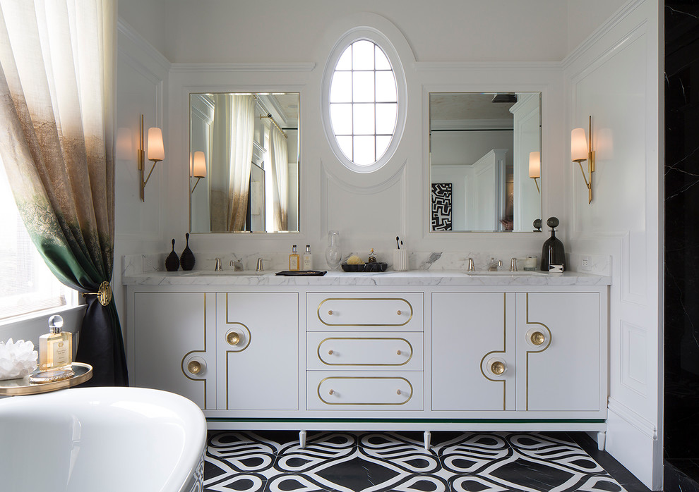 Elegant bathroom photo in San Francisco with flat-panel cabinets and white cabinets
