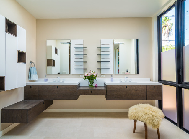 Shared bathroom contemporary bathroom los angeles for Shared bathroom layout
