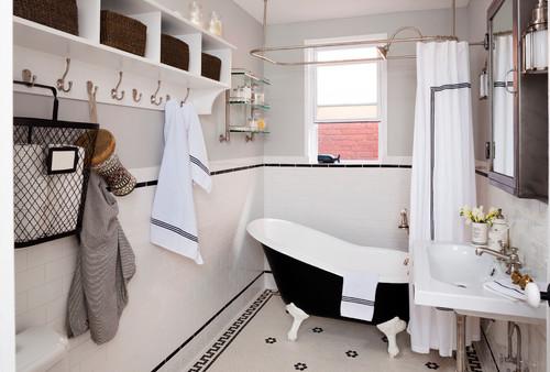 Ein viktorianisches Badezimmer in Schwarz-Weiß - Wohnen & Garten