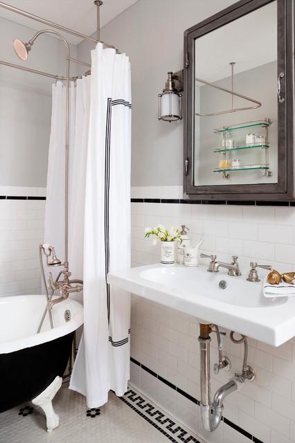 salle de bains de la semaine une d co victorienne en noir et blanc. Black Bedroom Furniture Sets. Home Design Ideas