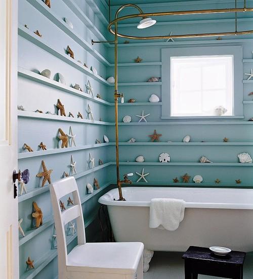 seashell shelving in bathroom