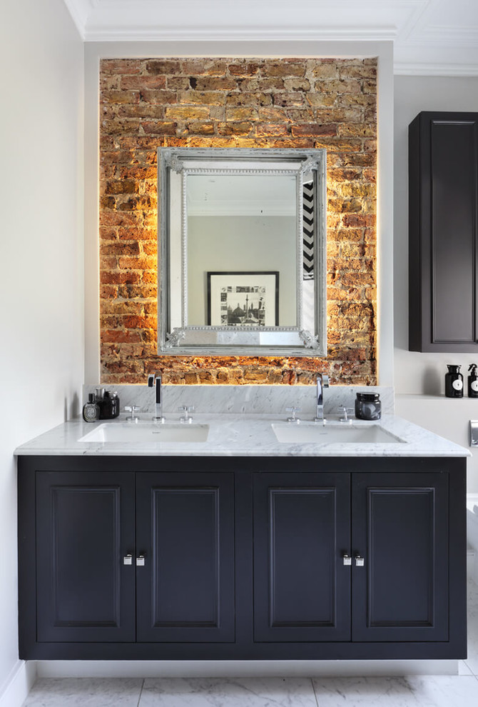 Inspiration for a medium sized contemporary ensuite bathroom in London with raised-panel cabinets, black cabinets, a built-in bath, a walk-in shower, a wall mounted toilet, grey walls, marble flooring, a built-in sink, marble worktops, white floors, an open shower and white worktops.