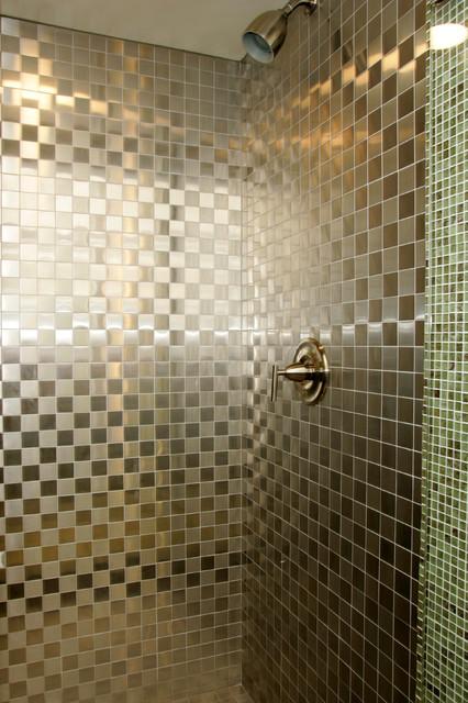 Sherman Oaks Modern Bathroom Remodel with Stainless Steel Shower modern-bathroom