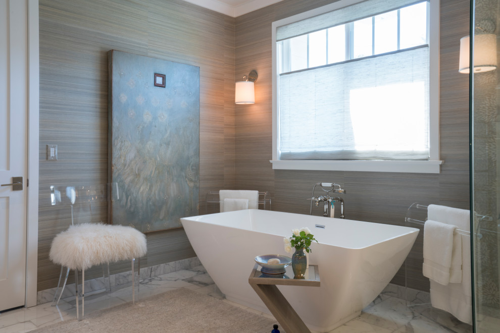 Inspiration for a transitional white floor freestanding bathtub remodel in Los Angeles with gray walls