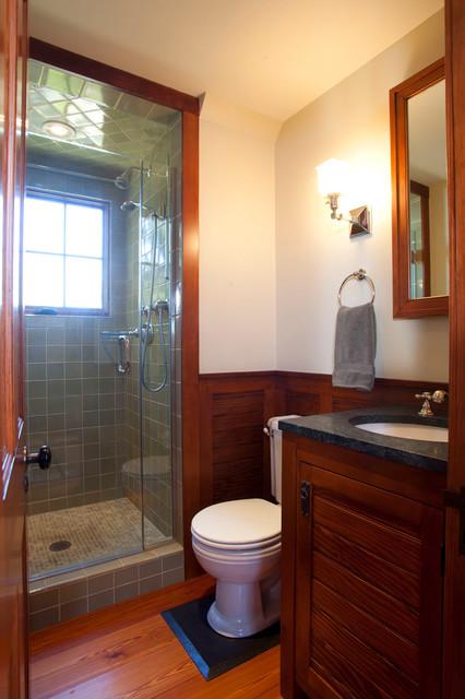 Shingle Style Carriage House - Bath farmhouse-bathroom