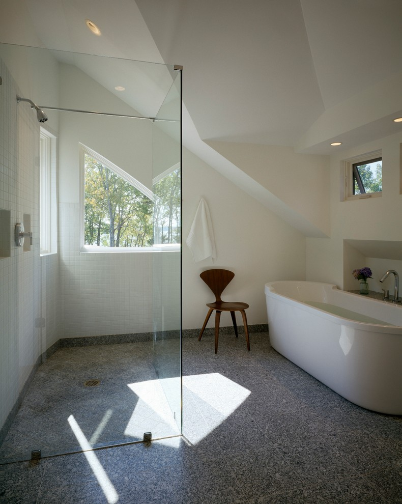 Mid-sized transitional gray tile bathroom photo in Other with white walls