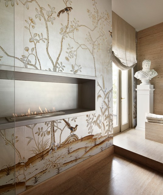 Bathroom - mid-sized transitional master beige tile and stone slab porcelain floor bathroom idea in Chicago with flat-panel cabinets, medium tone wood cabinets, an undermount tub, beige walls, an undermount sink and limestone countertops