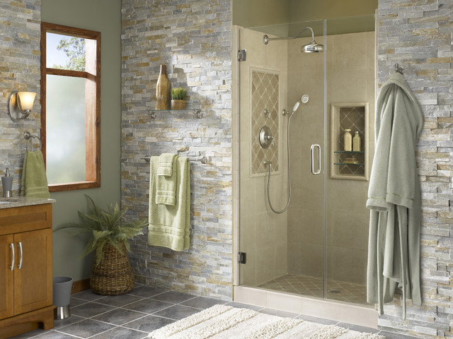 Shower alcove with natural accents tropical bathroom for Bathroom home improvement
