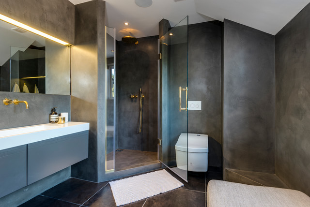 Shower and bathroom beton cire finish Современный Ванная