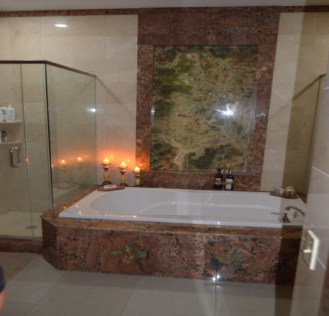 Shower And Jacuzzi Mediterranean Bathroom Tampa By