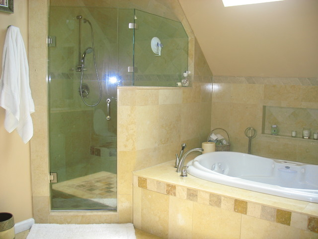 Shower jacuzzi tub mediterranean bathroom new york for Jet tub bathroom designs
