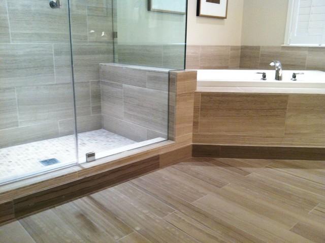 Shower and tub deck contemporary bathroom dc metro for Limestone tub