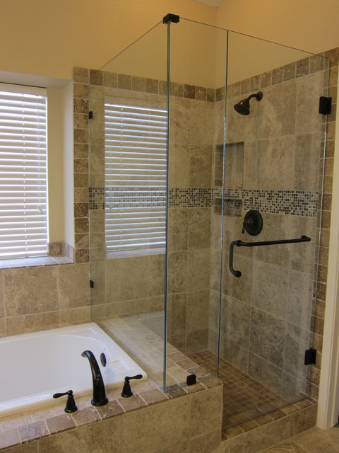 Shower and tub master bathroom remodel traditional bathroom dallas by the floor barn for Bathroom tub and shower designs