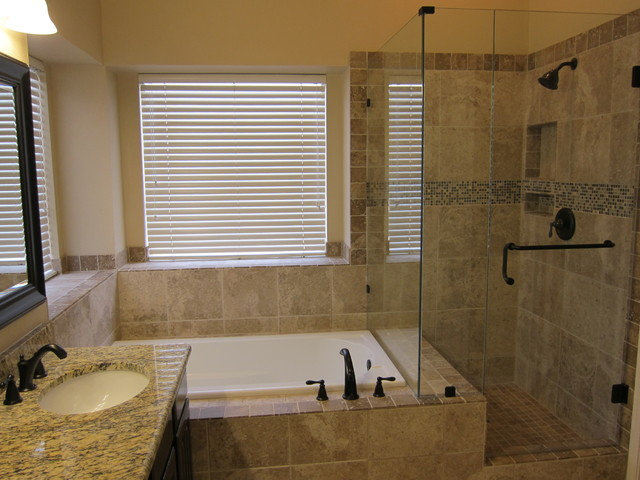 Shower and tub master bathroom remodel traditional for Master bathroom remodel