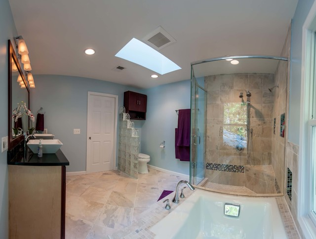 Shower and whirlpool tub highlighted by natural light contemporary bathroom dc metro by How much to add master bedroom and bathroom
