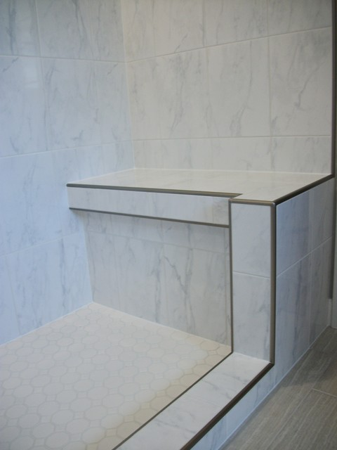 Shower Bench With Metal Edge Traditional Bathroom