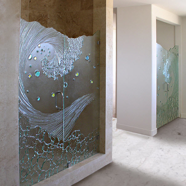 Frosted Glass Shower Doors shower door - contemporary - bathroom - san diego -cast glass