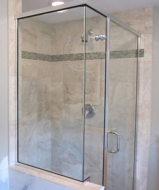 Shower Enclosure Wglass Accent Contemporary Bathroom
