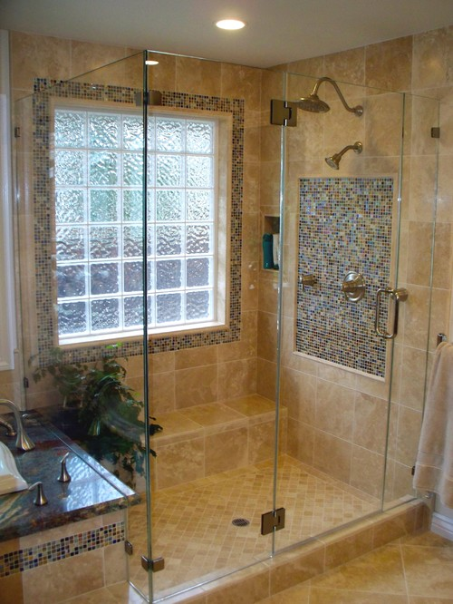 Picture frame glass block window for Window design bathroom