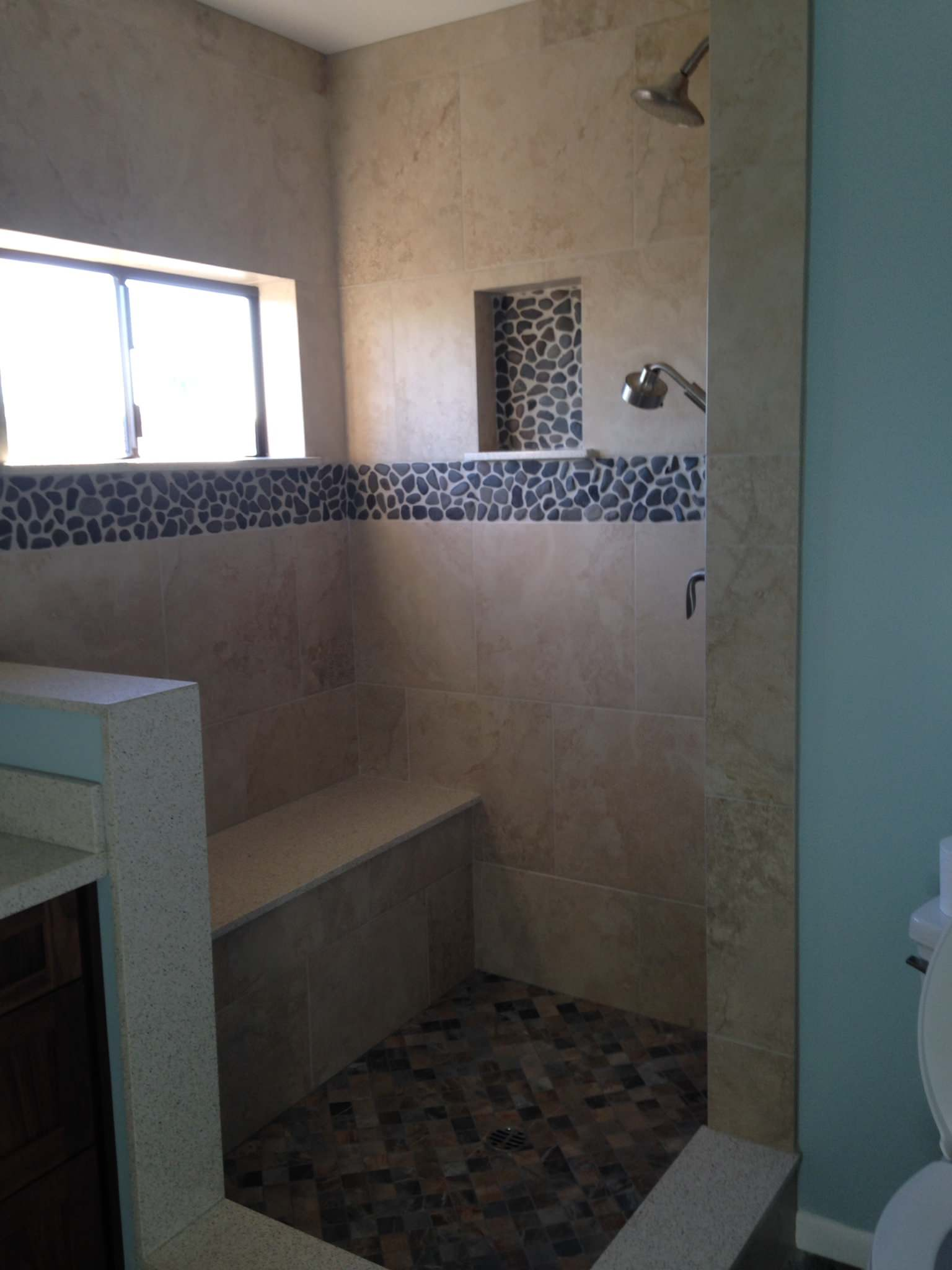 Shower finished without glass enclosure
