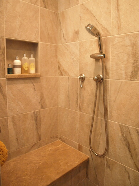 Bench Seat And Handheld Shower Traditional Bathroom