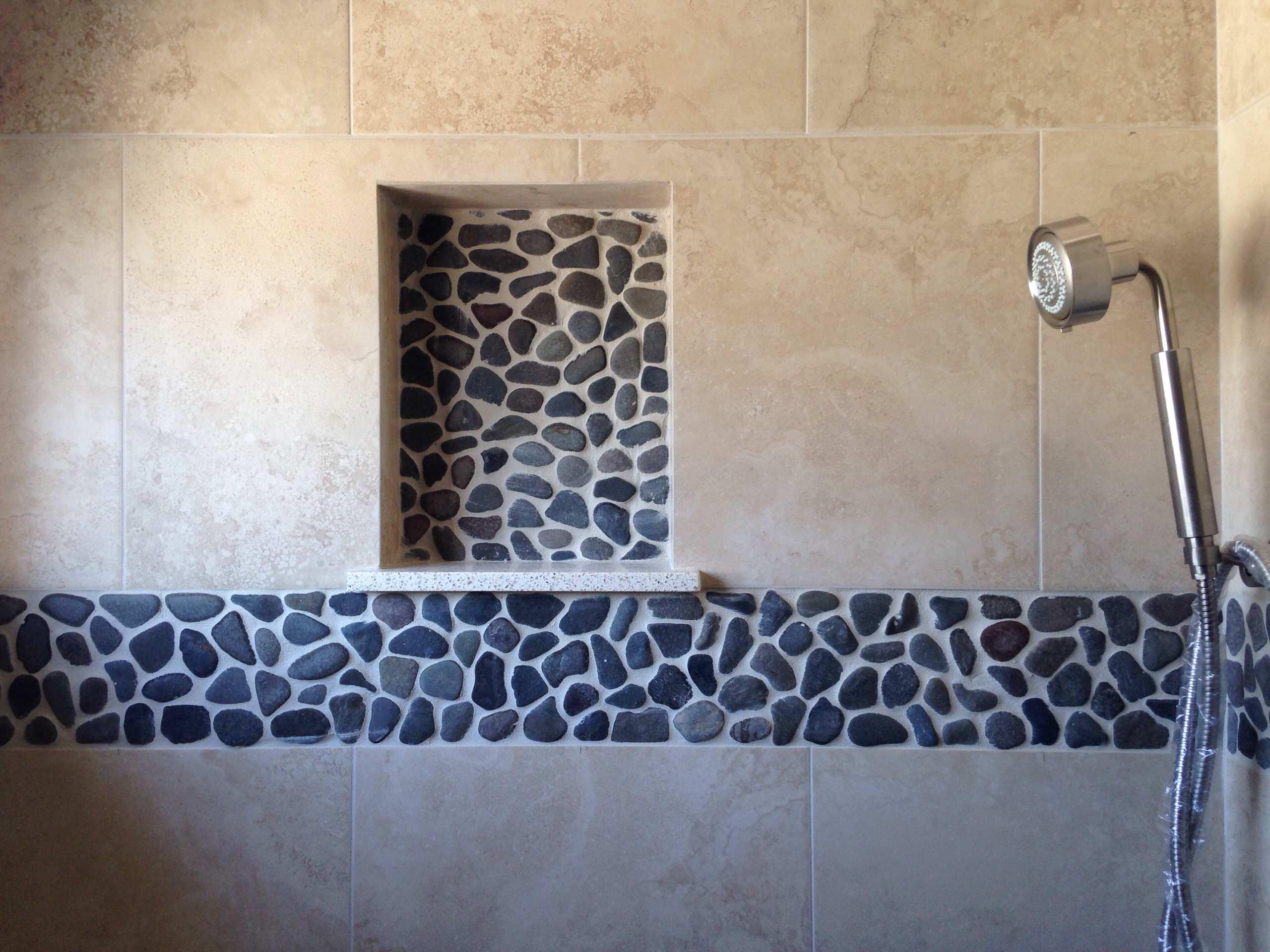 Shower Niche & Pebble Tile Accent