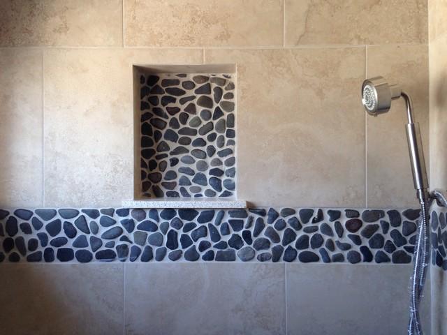 Shower Niche Amp Pebble Tile Accent Transitional