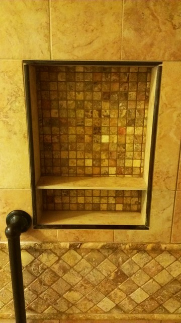 Shower Niche With Oil Bronze Trim Traditional Bathroom
