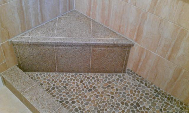 Shower Pan River Rock Granite Seat And Curb