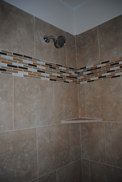 Shower Remodel Glass Tile Boarder Modern Bathroom Dallas By IStonef