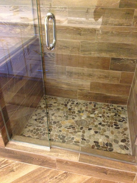 Shower Remodel Natural Look With Mosaic Flat Rock Pebbles And Wood Looking Tile
