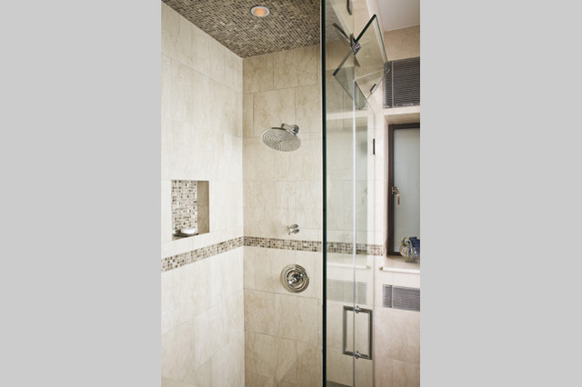 Shower stall glass - NYC Upper West Side pre-war coop luxury renovation contemporary bathroom