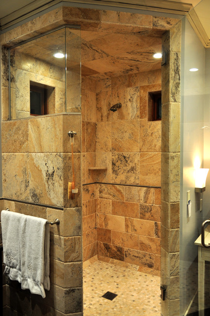 Shower tub bathroom ideas traditional bathroom for Granite and tile bathroom ideas