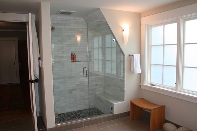 Shower tucked into gable asian-bathroom