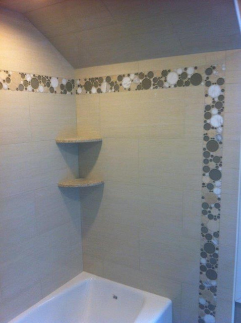 Shower Using Porcelain Tile And Bubble Glass Accents