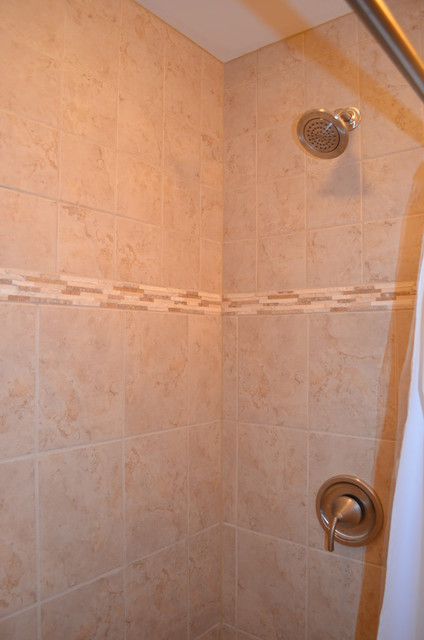Shower with accent tile contemporary-bathroom