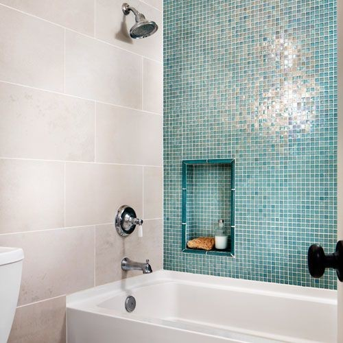 "Glass Tiles In Bathroom: Shower With Blue Glass Wall And 12 X 24"" Beige Tile"