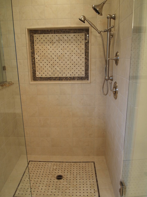 Shower with floor and wall niche mosaics - Traditional ...