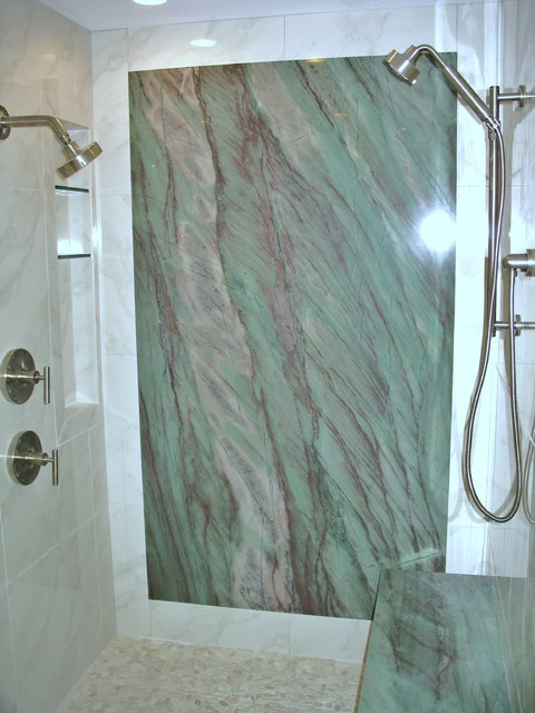 Shower With Granite Wall Contemporary Bathroom