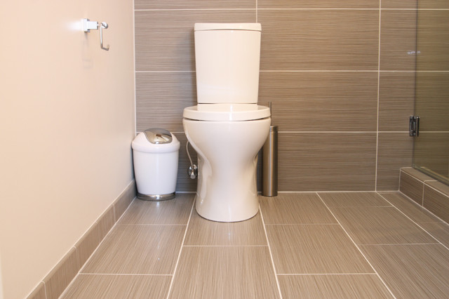 Gray Tile Bathroom Toilet Modern Richmond
