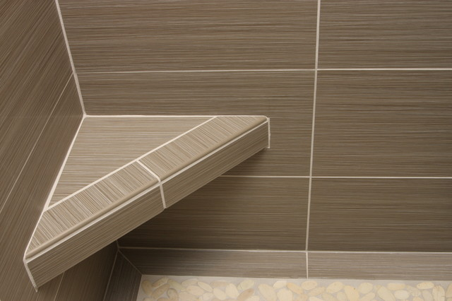 Shower With Gray Tile Bench And Beachstone Floor Modern Bathroom Richmo