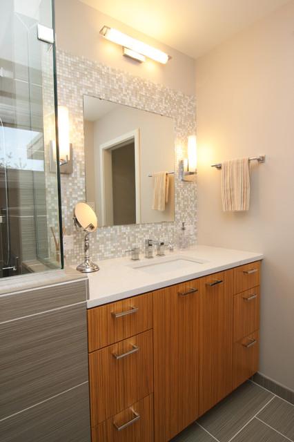 Mosaic Glass Tile Back Splash- Vanity - Modern - Bathroom - richmond ...