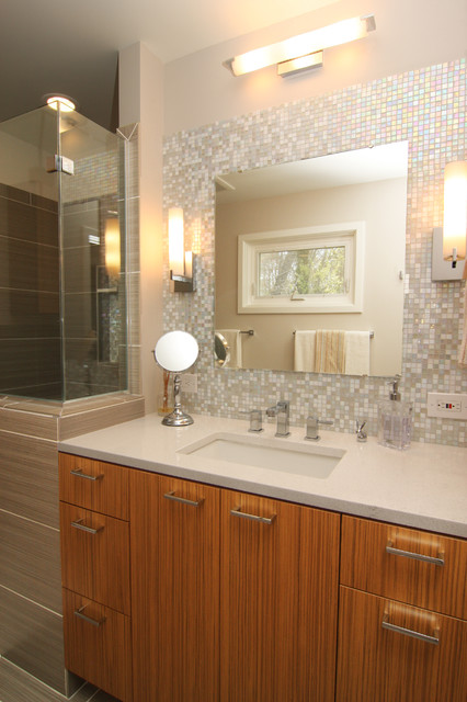 Mosaic Glass Tile Back Splash Vanity Traditional