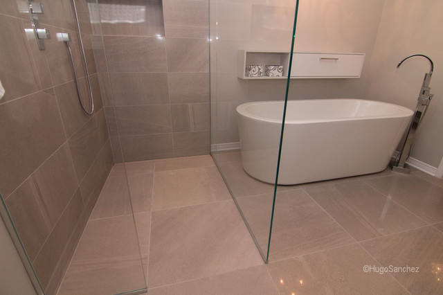 Shower With Heated Floor Modern Bathroom Montreal
