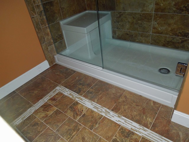 Shower With Integrated Seat Traditional Bathroom