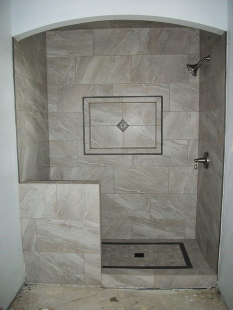 Shower With Large Gray Rectangle Tile Traditional Bathroom