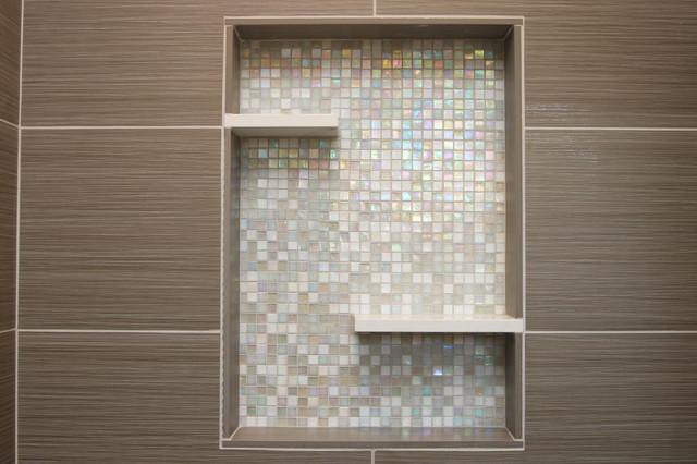 Bathroom niche modern bathroom decor modern small bathrooms bathroom - Shower With Recessed Niche Of Mosaic Glass Tile