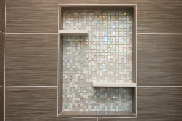 Shower With Recessed Niche Of Mosaic Gl Tile Contemporary Bathroom