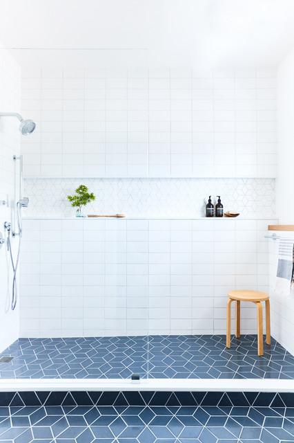 White And Blue Bathroom Tiles