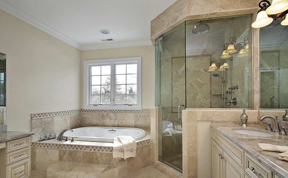 Small elegant master beige tile and ceramic tile ceramic tile and beige floor bathroom photo in Philadelphia with raised-panel cabinets, white cabinets, a two-piece toilet, white walls, an undermount sink, granite countertops and a hinged shower door